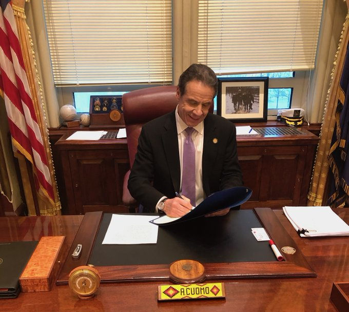 Governor Cuomo signs Covid-19 legislation.