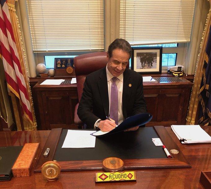 Governor Cuomo signs Covid-19 legislation.